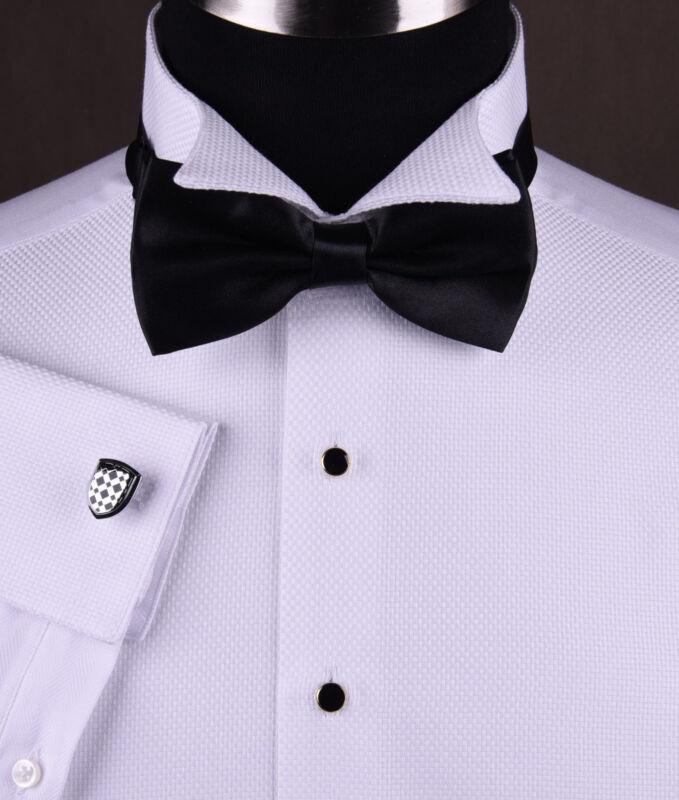 Mens Wing Collar Tuxedo Formal Dinner Dress Shirt Luxury Wedding Black Bow Tie
