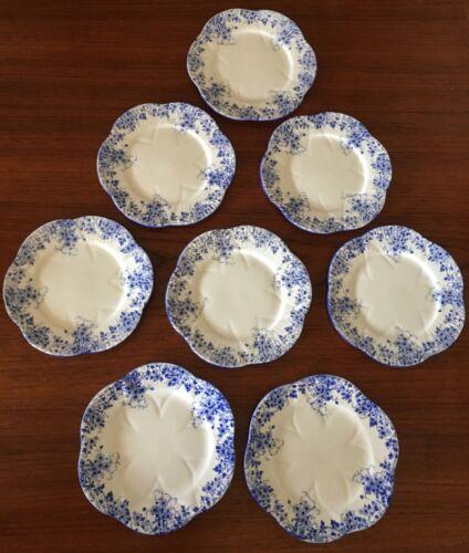 BEAUTIFUL VINTAGE SHELLEY DAINTY BLUE BREAD PLATES SET OF 8