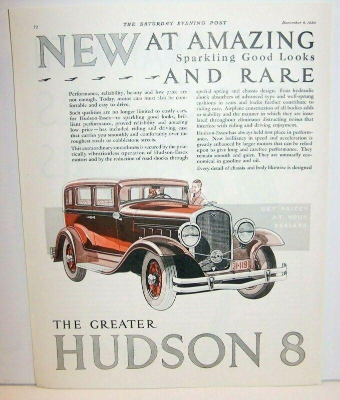 Hudson 8 4 Door ad 1930