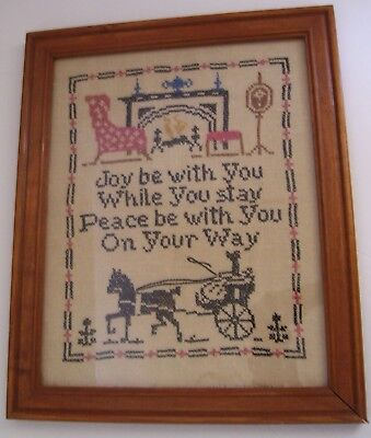 Framed Colonial Linen Stitched Sampler in Wood Frame Wishing Guest Joy & Peace