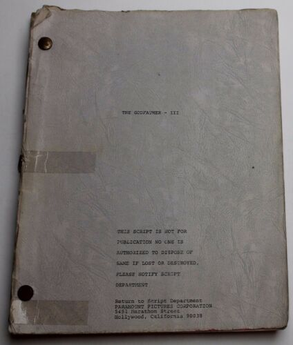 THE GODFATHER: PART III / Alexander Jacobs 1978 Movie Script Screenplay Draft