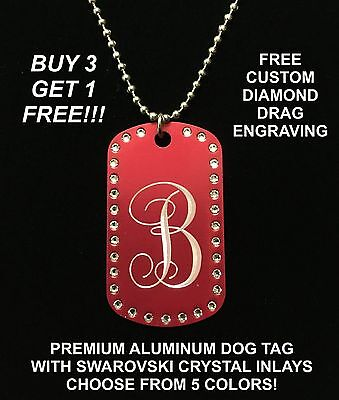 MONOGRAMMED DOG TAG CUSTOM ENGRAVED NECKLACE WITH SWAROVSKI CRYSTALS PENDANT Crystal Dog Tag Necklace