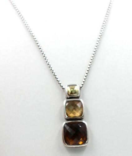DAVID YURMAN Chiclet Pendant Necklace Faceted Citrine & Gold Dome SS & 18K EUC