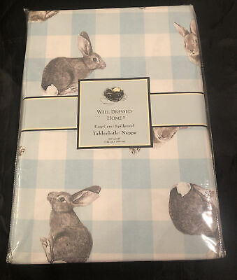 """NEW Well Dressed Home Blue Gingham Easter Bunny Rabbit Tablecloth 60""""x 118"""""""