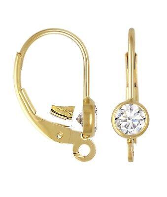 14k Gold Filled AAA CZ Leverback Earwire Hook Earring Findings  2pcs #6206-9 Findings Earwire Earring