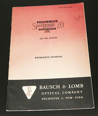 Vintage Original Manual Bausch Lomb Spectronic 20 Colorimeter Spectrophotometer