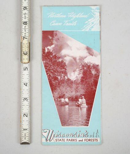 Vintage 1950 Wisconsin Canoe Trails State Parks Tourism Brochure Pamphlet Map