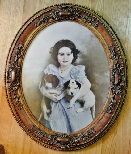 VINTAGE LG ORNATE OVAL GESSO FRAME ~ VICTORIAN LITTLE GIRL WITH PUPPIES