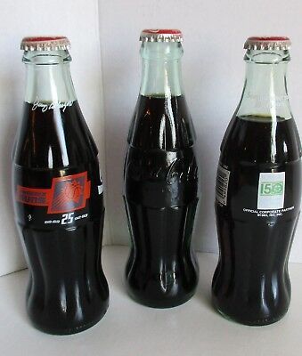 3 Coca Cola Bottle Iowa 150 Sesquicentennial 1993 Phoenix Sun Syracuse Ny Sealed
