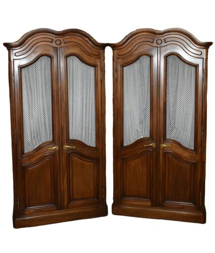 Vintage Pair of John Stuart Country French Wardrobes/Armoires w/Fitted Interior