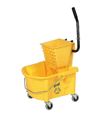 Genuine 6.5 Gal. Joe Splash Guard Mop Bucket Wringer Combo On Wheels Yellow
