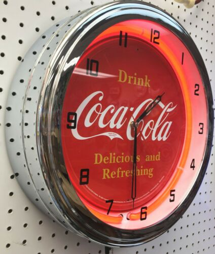 "16"" Drink Coca-Cola Delicious and Refreshing Coke Sign Neon Clock"