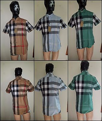 Burberry Brit Mens Fred Woven Short Sleeve Button Down Exploded Check Shirt