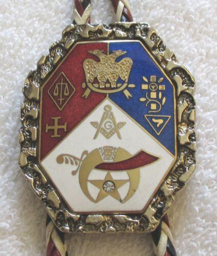 Vintage Masonic Large Bolo Tie - Mason Freemason Shriner 32nd Degree Emblems