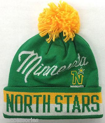 3de7e263f5a NHL Minnesota North Stars Reebok CCM Vintage Pom Winter Knit Hat Cap Beanie  NEW!