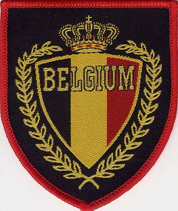 Belgium 80 39 s 90 39 s football badge patch 8 2 x 7cm shield ebay for Porte badge 60 x 90