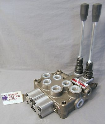Hydraulic directional control valve 2 spool tandem center spring return 12 GPM