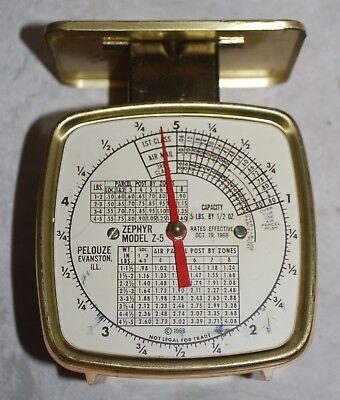 Vintage Postal Scale By Pelouze Zephyr Z5 5 Lbs X 12 Oz With 1968 Rates