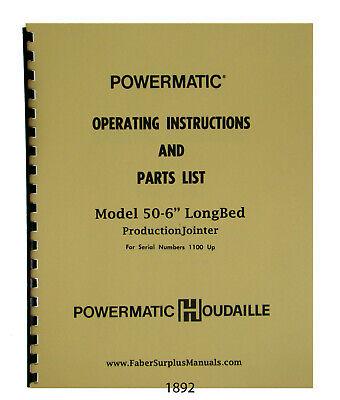 Powermatic 6 Jointer Model 60 Sn 1100 Up Operator Parts List Manual 1892