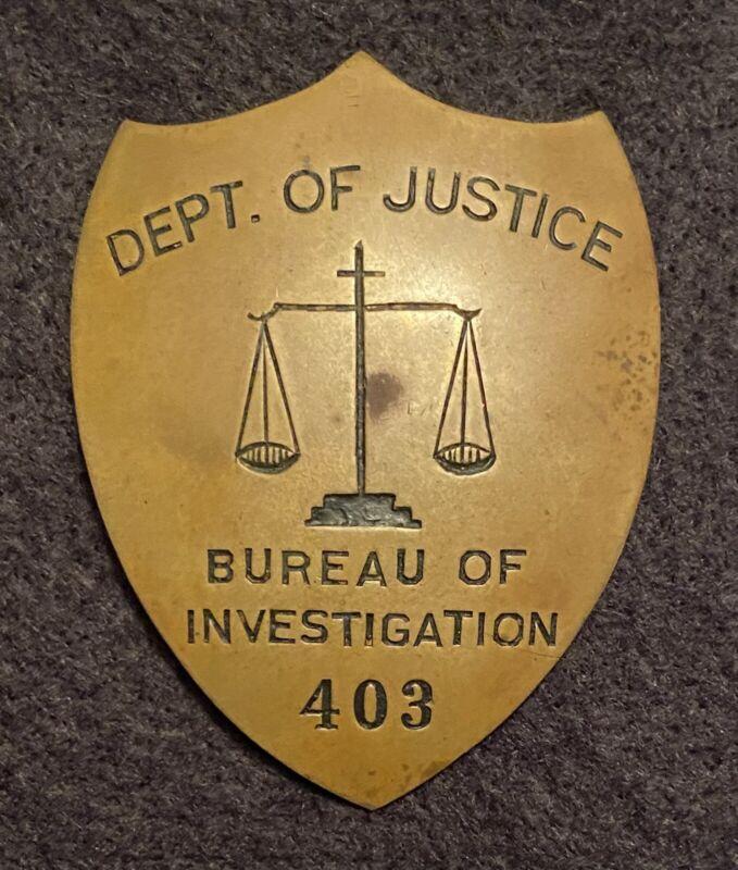 Brass 1930s RKO movie prop badge FBI G-Men Bureau of Investigation DOJ