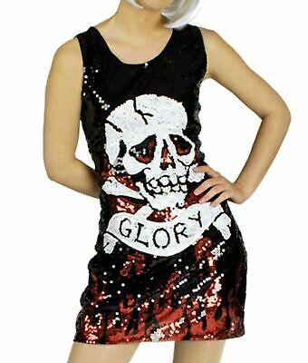Kostüm Paillettenkleid  m Totenkopf Rockerbraut Punkerin Karneval Halloween
