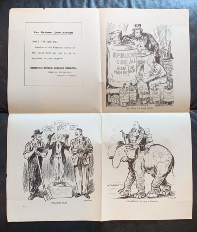 1936 ENRIGHT FDR POLITICAL CAMPAIGN UNCUT CARTOON PROOF SHEET ANTI LANDON 16X18