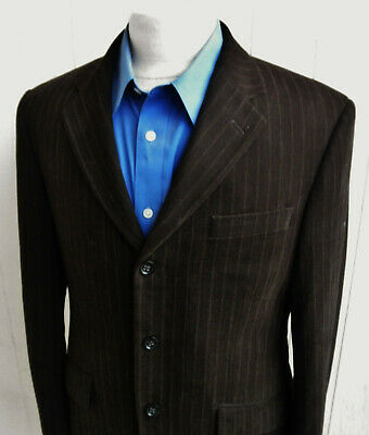 BANANA REPUBLIC Mens Brown Striped Cotton Three-Button Blazer 38S