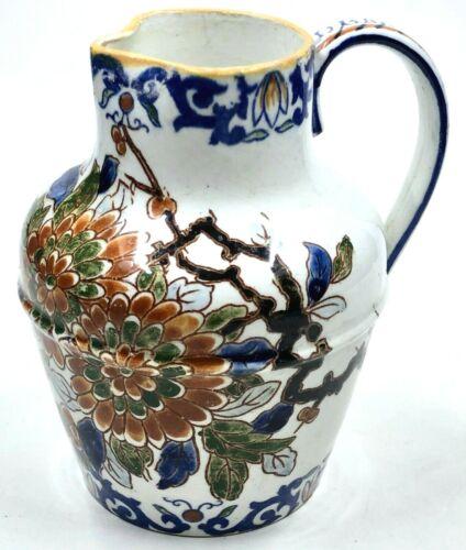 RARE Vintage Gien France Delft FLEURS Creamer Majolica Hand Painted Flowers Bird