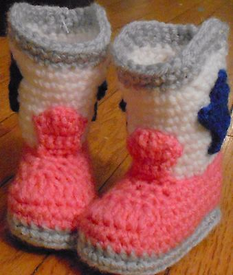 Custom Handmade Crochet Pink Dallas Cowboys Cowboy Cowgirl Boots Baby Booties