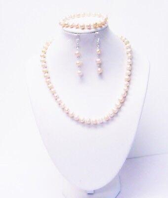 Fresh Water Champagne Potato Pearl Necklace/Bracelet/Earring