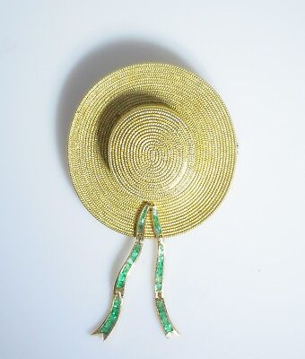18K WOVEN GOLD VENETIAN GONDOLIER HAT WITH 4.70CT EMERALDS RARE BROOCH / PENDANT - Gondolier Hat