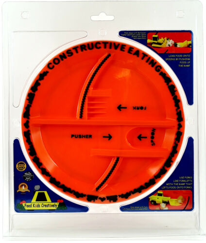 Constructive Eating Construction Zone Orange Divided Child Plate No Utensils  B7