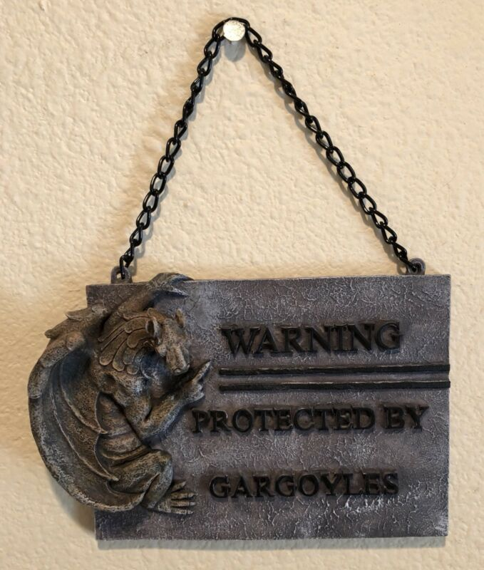 """New """"Warning Protected By Gargoyles"""" Resin Sign With"""