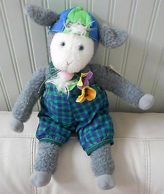 "HALLMARK Storybook Friends GOAT Plush Stuffed GALLAGHER Flowers NWT 15"" Cap"