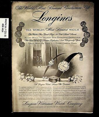 1956 Longines Wittnauer Watch Co Women Men Watches Vintage Print ad 8736