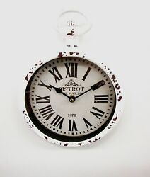 SMALL WHITE METAL ANTIQUE LOOKING WALL CLOCK (8 W X 11H) MADE BY UMA 52561W