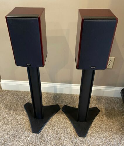 KLIPSCH WB-14 bookshelf speakers with stands MINT CONDITION in Cabernet finish