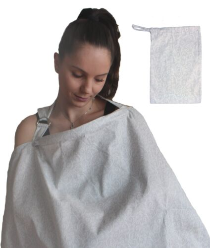 LK Baby Nursing Cover Up Apron Breastfeeding Privacy Soft Cotton in Grey Swirls