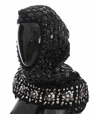 NEW $3000 DOLCE & GABBANA Hood Scarf Hat Crystal Sequined Black Knitted Wool