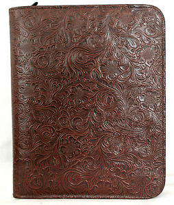 Chocolate Western Floral Embossed Leather Zippered No