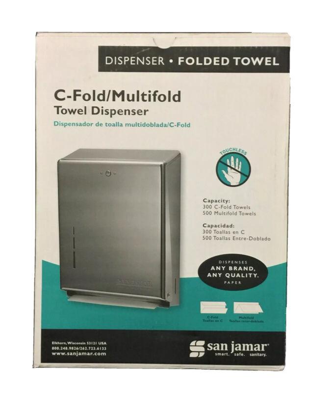 San Jamar C-Fold/Multifold Towel Dispenser, 11.38 x 4 x 14.75, Chrome, T1900XC