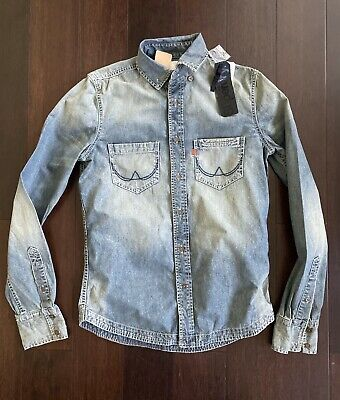 Superdry Denim Shirt 100% Cotton Distressed Faded NWT SMALL Denim Season