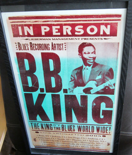 2005 BB King Tour Framed Mini Poster 25x15 w/ Seating Chart and Ticket