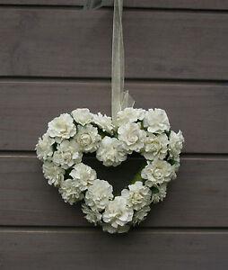 Cream Artificial Roses Heart Shape Hanging Decoration Wedding Venue Pew End Rose