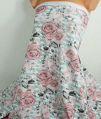 Baumwoll Jersey: Rosen Romantik, 17,00 €/m, gestreift, rosa mit mint + weiß