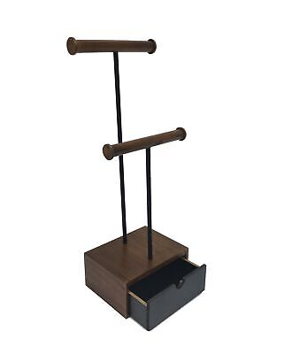2 Tier Double T-bar Necklace Bracelet Jewelry Display Stand Wood Drawer Storage