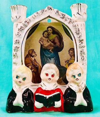 MERRY CHRISTMAS! 🎁 Choir Boy Girl Figurine Christian Mary Candle Holder Vintage ()
