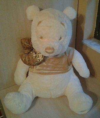 """Disney Winnie the Pooh Pooh Teddy Bear Cream Gold Plush 21"""" Sitting it is 18"""""""