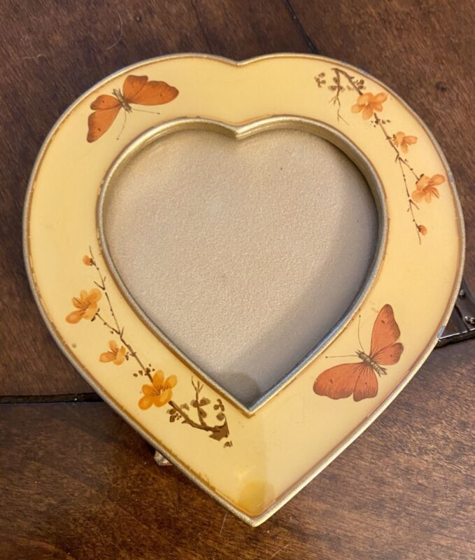 VINTAGE The Bucklers Hand Crafted Heart Shape Butterfly Enamel Picture Frame