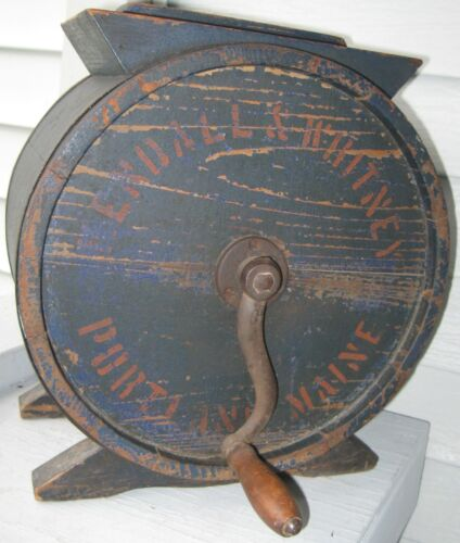ANTIQUE WOOD TABLE TOP BUTTER CHURN ENDALL&WHITNEY PORTLAND MAINE OLD BLUE PAINT